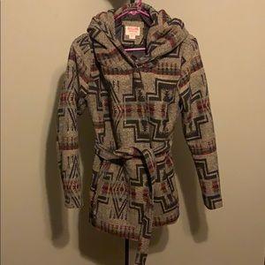 Thick Tribal Design Pea Coat